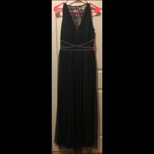 BNWT Black long gown with lace accents